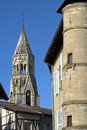 City view with Romanesque Saint-Léonard Church Royalty Free Stock Photo