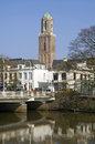 City view of zwolle historic church tower peperbu netherlands overijssel province hanseatic provincial capital street scene the Stock Photography