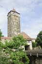 City views of ancient stone tower in Rothenburg Stock Photography