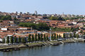 City of vila nove de gaia portugal view the the world capital port wine and it wine cellars seen from the dom luis bridge over the Royalty Free Stock Images