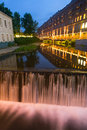 City water cascade urban in evening scenery Royalty Free Stock Photo