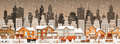 City in winter christmas scenery vector illustration of Stock Photography