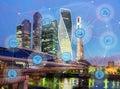 City and wireless communication network Royalty Free Stock Photo