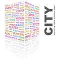 City word cloud concept illustration wordcloud collage Stock Photo