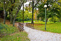 City of zagreb autumn park ribnjak in colors croatia Stock Photos