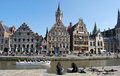 Citylife in ghent belgium city life gand with reconstruction and people daily activities along side with the beautiful attractions Royalty Free Stock Photo