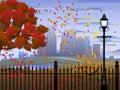 Cityscape autumn park Royalty Free Stock Photo