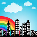 Cityscape background with rainbow Stock Images