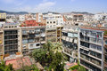 Cityscape of Barcelona from roof of the Casa Mila Stock Photo
