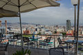 Cityscape barcelona spain view over buildings city from the cafe Royalty Free Stock Photography