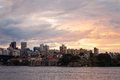 Cityscape with beautiful sunset light of downtown sydney australia july skyline taken from mrs macquarie s point Royalty Free Stock Images