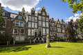 Cityscape in Begijnhof, Amsterdam. Royalty Free Stock Photo