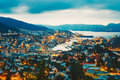 Cityscape Of Bergen City From Mountain Top, Norway. Royalty Free Stock Photo