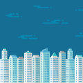 Cityscape on the blue background in flat style for presentation booklet leaflet and different design works buildings concept Stock Photo