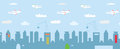 Cityscape cartoon with high buildings constructions and airplanes Royalty Free Stock Photography