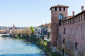 Cityscape with Castel and Adige river in Verona Royalty Free Stock Photo