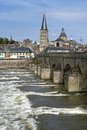 Cityscape of Charite-sur-Loire at the Loire River Royalty Free Stock Photography