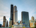 Cityscape of  Chicago in the evening Stock Photo