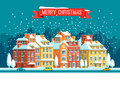 Cityscape. The city in christmas. Vector flat illustration.