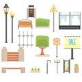 Cityscape Constructor Elements Set In Cute Cartoon Geometric Design, Town Landscape Design Templates.