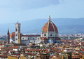 Cityscape of florence italy showing the homes the cathedral and the bell tower Stock Photography
