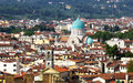 Cityscape of florence italy showing the homes and the synagogue Stock Photo