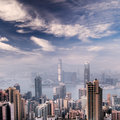 Cityscape of Hong Kong skyscrapers and skyline Stock Images