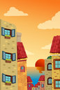 Cityscape illustration of cartoon with sunset Royalty Free Stock Photography