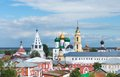 The cityscape of the kolomna kremlin on the sky background is a very large fortress in russia its territory there are many russian Royalty Free Stock Image