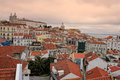 Cityscape of lisbon portugal buildings cluster city at sunset Royalty Free Stock Photo