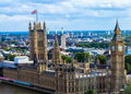 Cityscape of London with houses of Parliament , Big Ben an Royalty Free Stock Photo