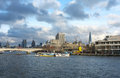 Cityscape london view over thames towards royal festival hall shard st paul s cathedral boats festival pier Stock Photo