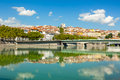 Cityscape of Lyon, France with reflections in the water Royalty Free Stock Photo
