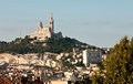 Cityscape of marseille with basilica notre dame de la garde france Royalty Free Stock Photography