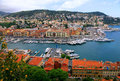 Cityscape of nice france harbor view from above panoramic cote d azur with yachts and beautiful buildings Stock Photography