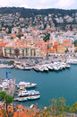 Cityscape of nice france harbor view from above panoramic cote d azur with yachts and beautiful buildings vertical image Stock Images