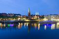 Cityscape of night bremen in summer over the rhein river Stock Images