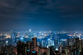 Cityscape night view of Hong Kong Royalty Free Stock Photos