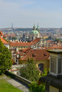 Cityscape of prague with boat cruise on the river Stock Photos
