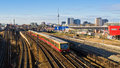 Cityscape with railroads in berlin germany Royalty Free Stock Photo