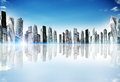 Cityscape with reflexion and bright skyline urban concept Royalty Free Stock Image