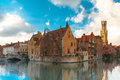 Cityscape from Rozenhoedkaai in Bruges, Belgium Royalty Free Stock Photo