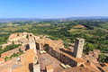 Cityscape of san gimignano including the tuscan landscape Stock Images