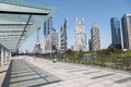 Cityscape of shanghai financial center on sightseeing platform bridge Stock Photo