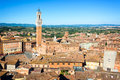 Cityscape of Siena, aerial view with the Torre del Mangia, Tuscany Italy