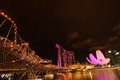 Cityscape singapore night near marina bay Royalty Free Stock Image