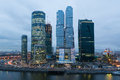Cityscape of skyscrapers of moscow city oct in the evening on october in russia the construction is Royalty Free Stock Photography