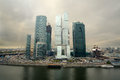 Cityscape of skyscrapers of moscow city oct on october in russia the construction is on the Stock Photos