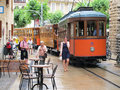 Cityscape of soller on mallorca spain june people walkin through the historical town part spain the historical red cable car Royalty Free Stock Photography