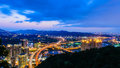 Cityscape of taipei night scene city with highway Royalty Free Stock Image